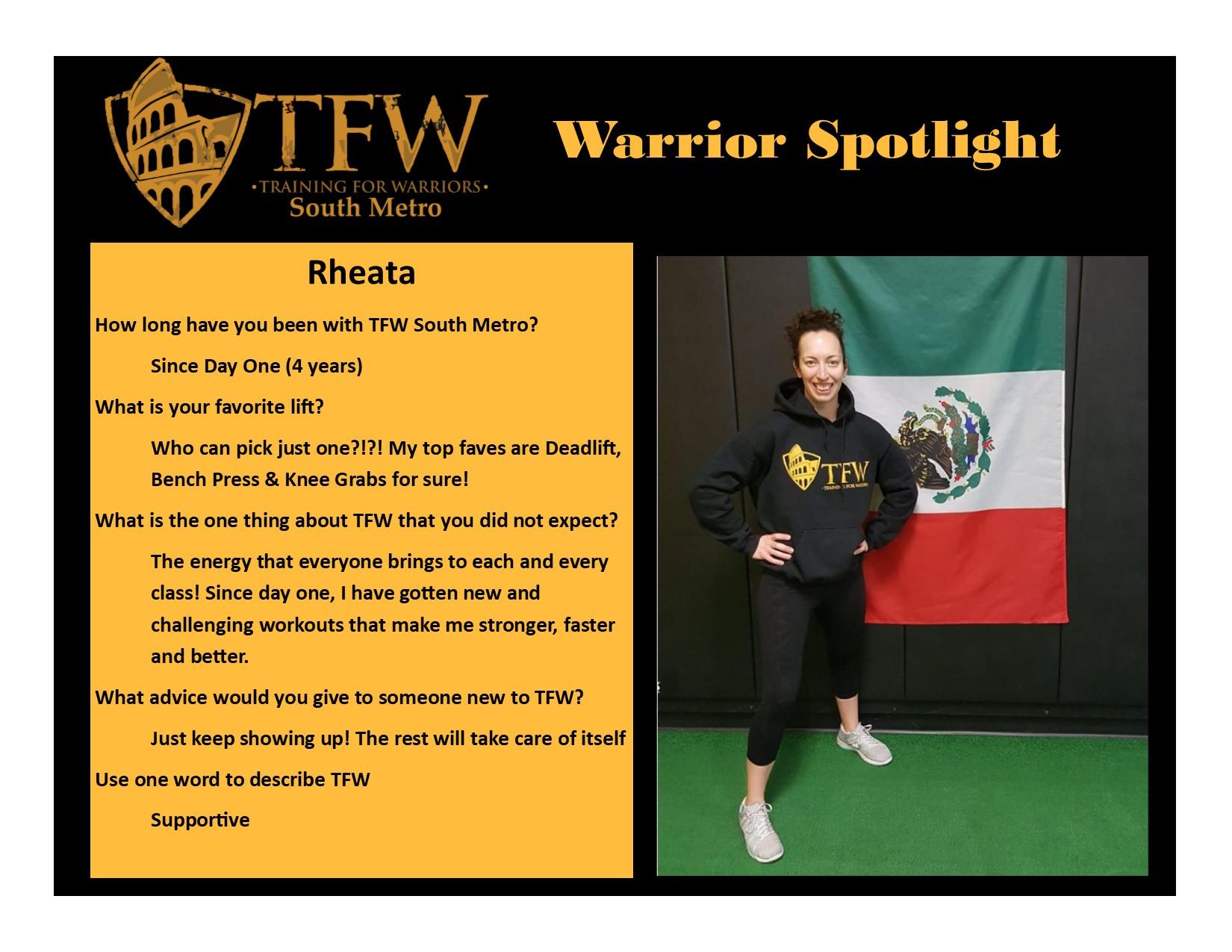 TFW South Metro Warrior, Rheata