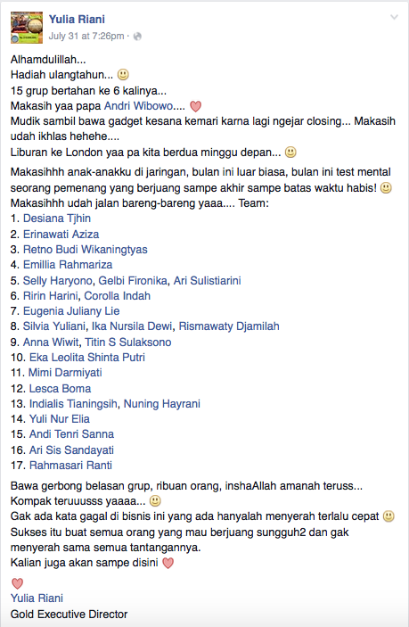 Terima kasih buat segenap downline Maki, we're the best team!