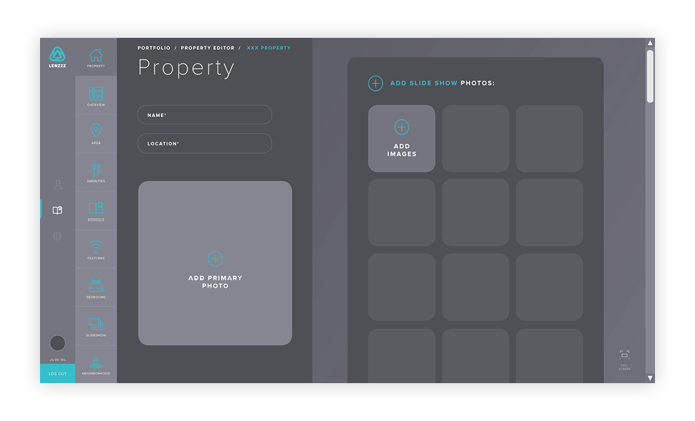 Home page of the property Editing Tool