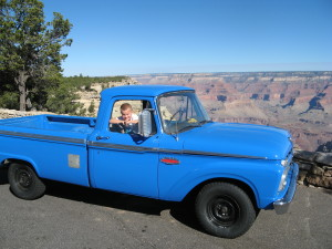 Coletrane in Ol' Blue in Grand Canyon.  One way trip driving home from L.A.