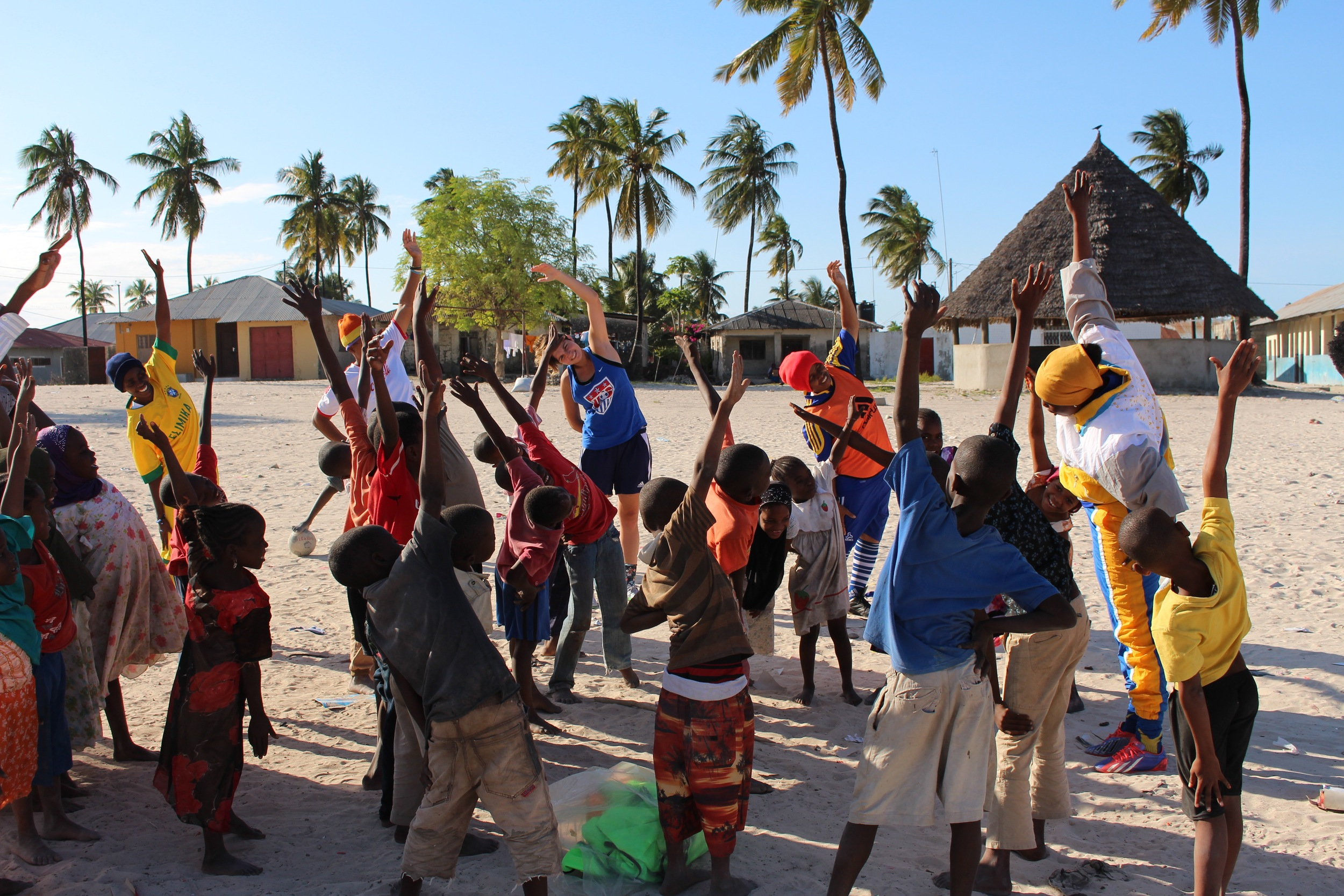 Bettina leading the stretches in Paje, July 2015