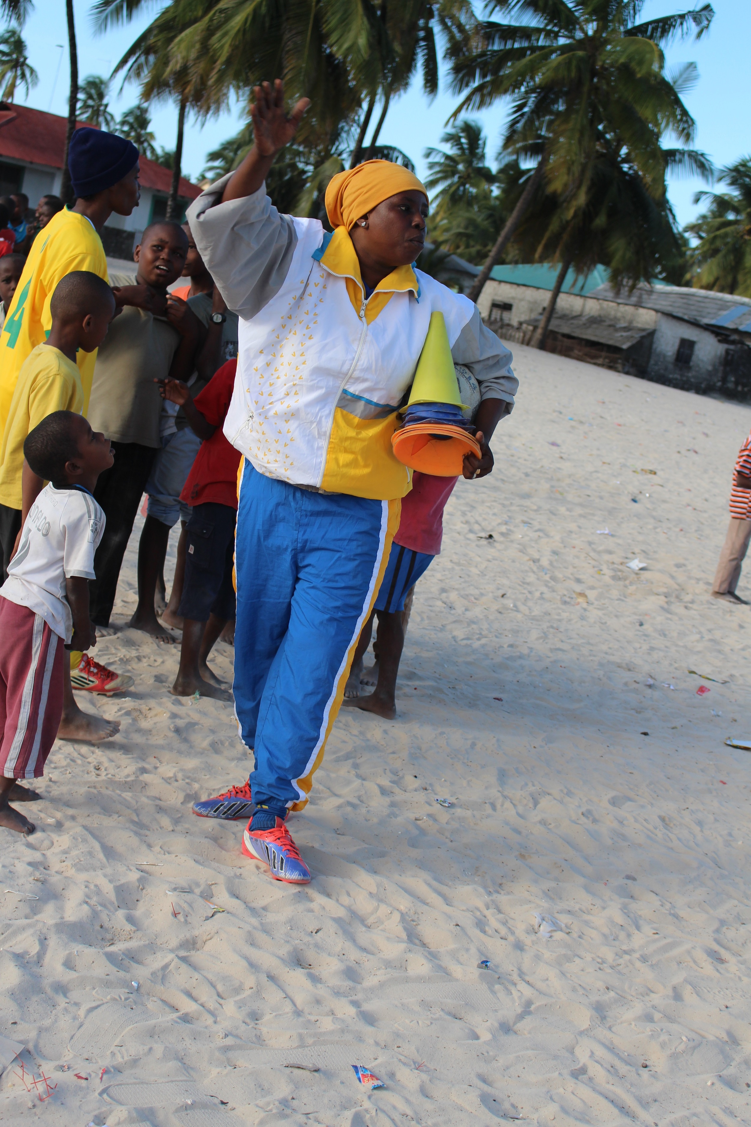 Bettina leads soccer clinic in Paje, July 2015