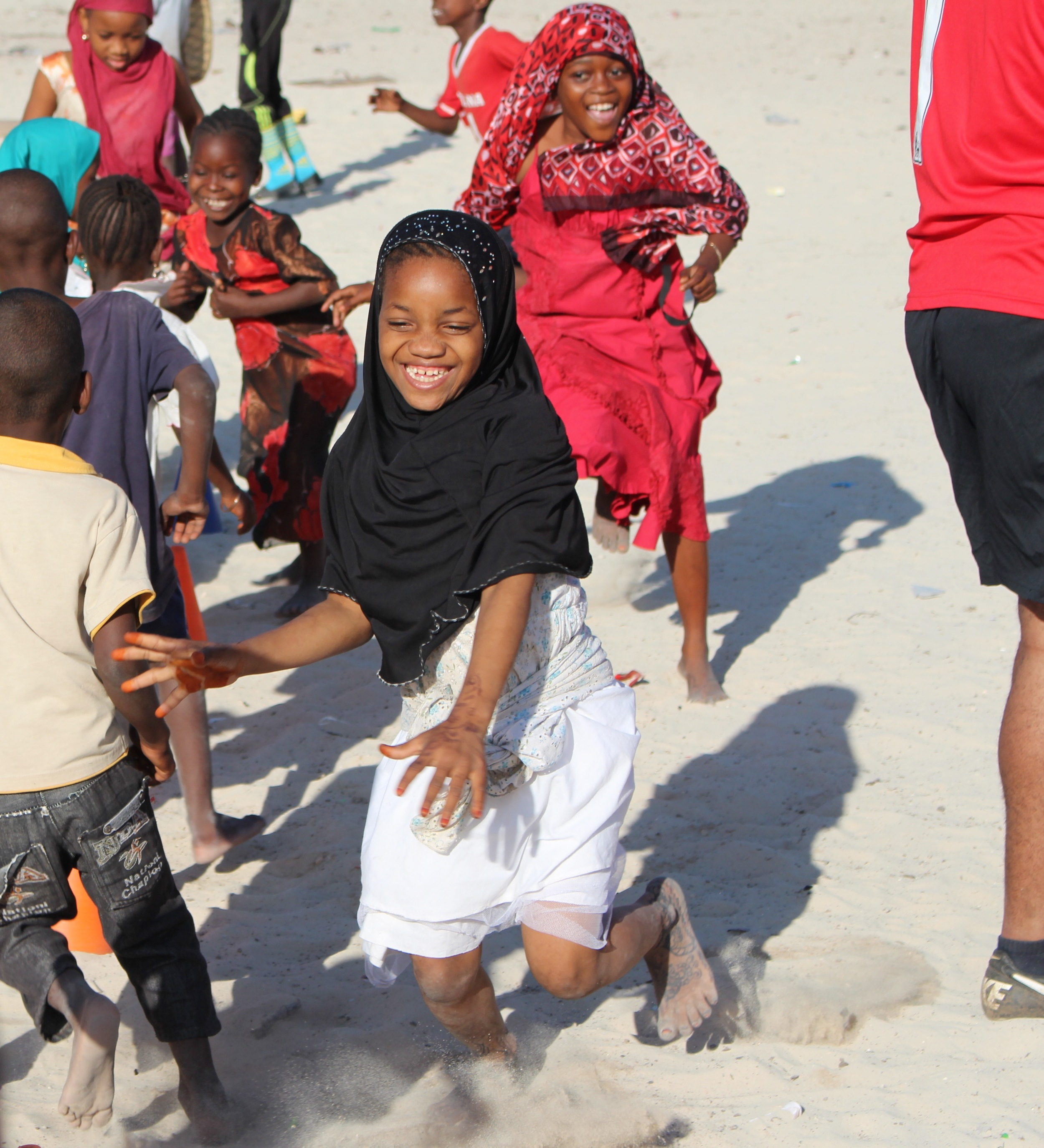 Girls participate in Paje soccer clinic, July 2015