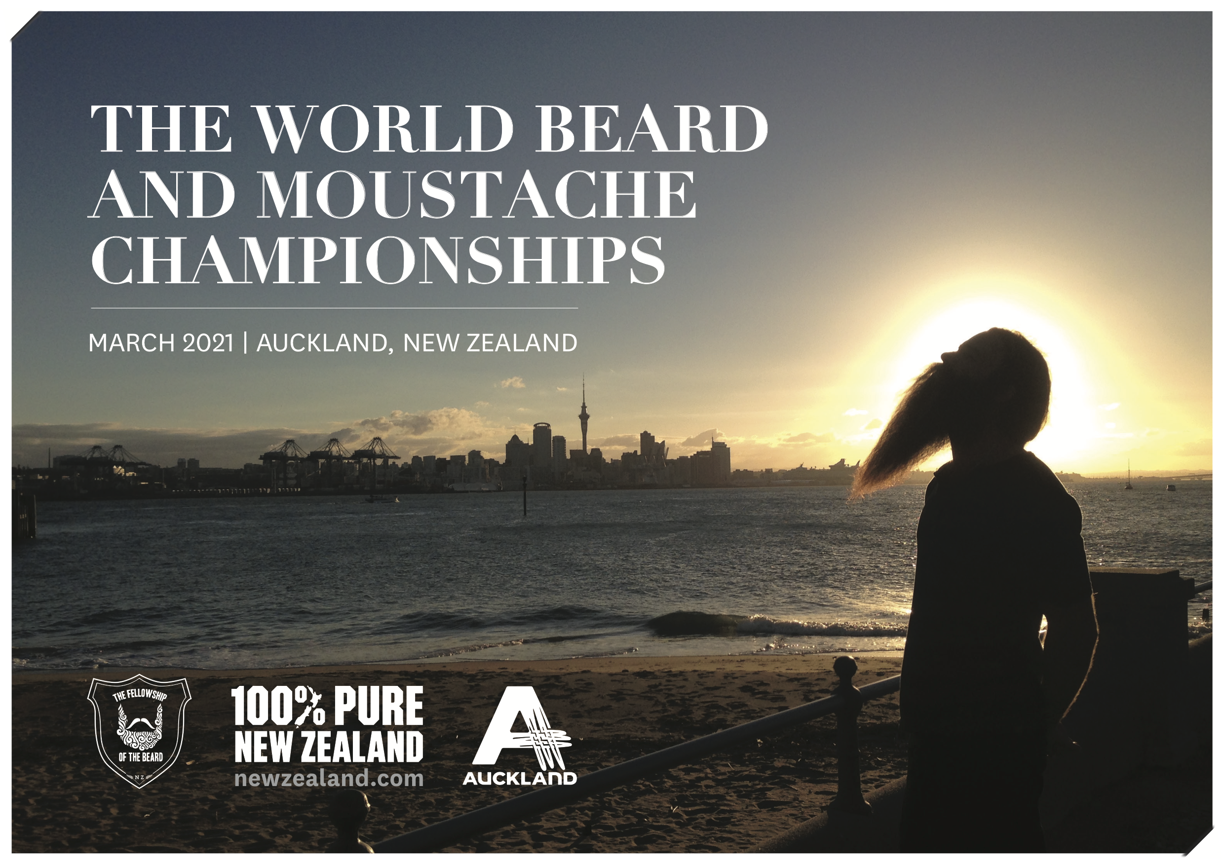 The next World Beard and Moustache Championship will be held in Auckland New Zealand in March of 2021.