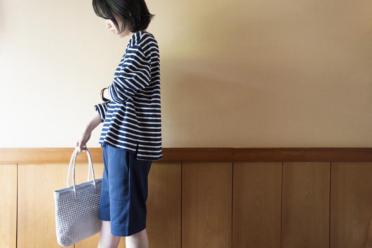 ミニパイルボーダーTシャツ -