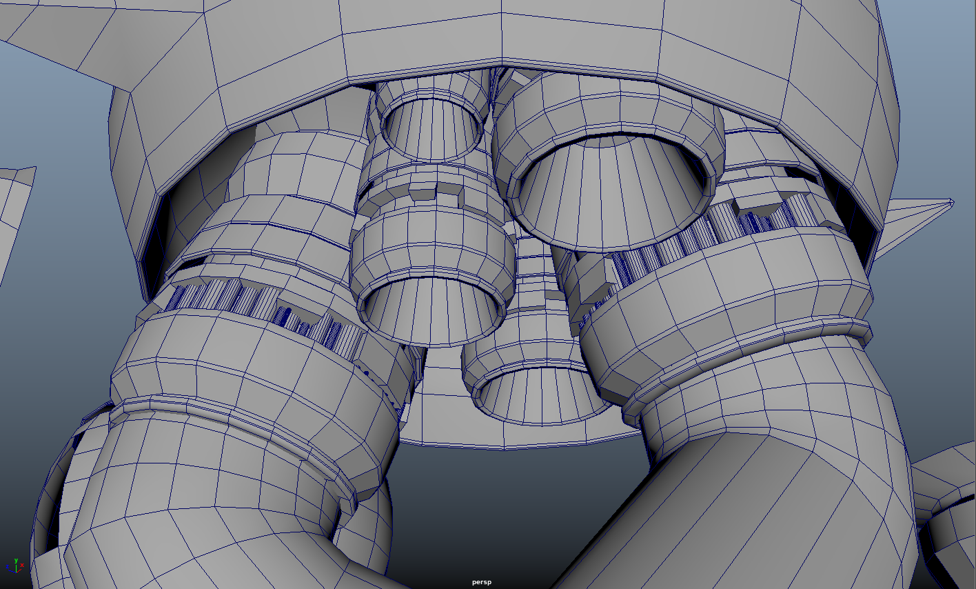 Underside Machinery: Since these are meant to be large towering structures that the player is going to be looking up at, it is important to create something for them to see. These thruster like objects were modeled modeled from a cylinder, duplicated, and scaled to various sizes.