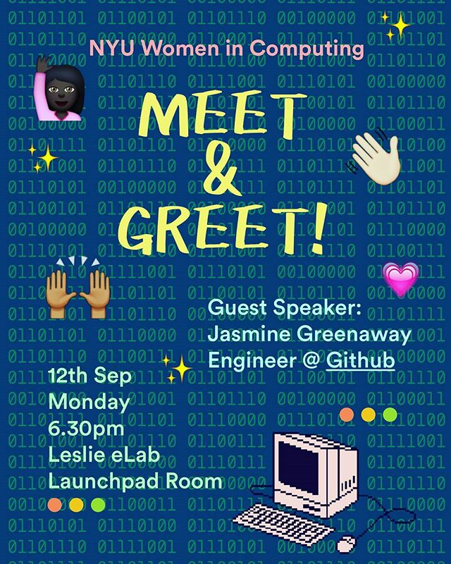 Our semesterly Meet & Greet is happening on Monday, 9/12! Come meet some of our officers and our guest speaker from GitHub! Tell a friend to tell a friend! 🤗 This is a great opportunity to learn about diversity in the tech industry and connect with some #flawless ladies! 😀