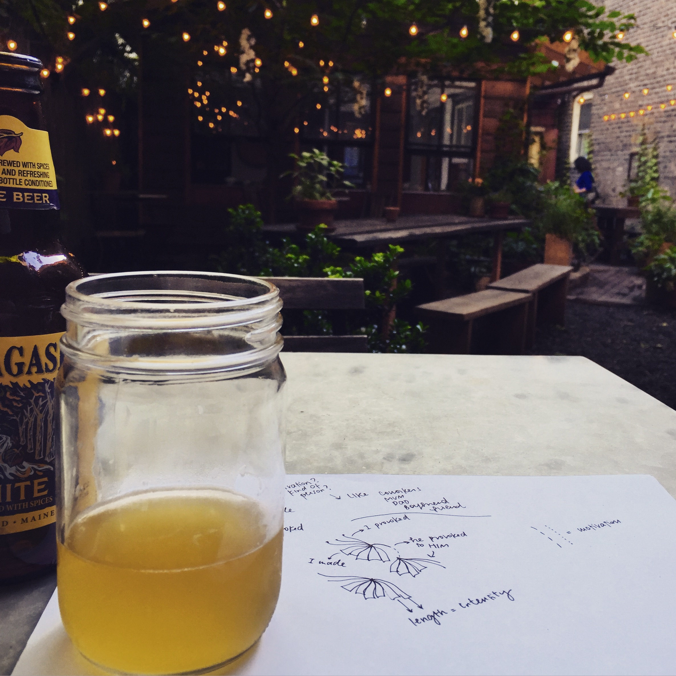 first ideas over drinks while waiting for best friend in our secret backyard in Brooklyn