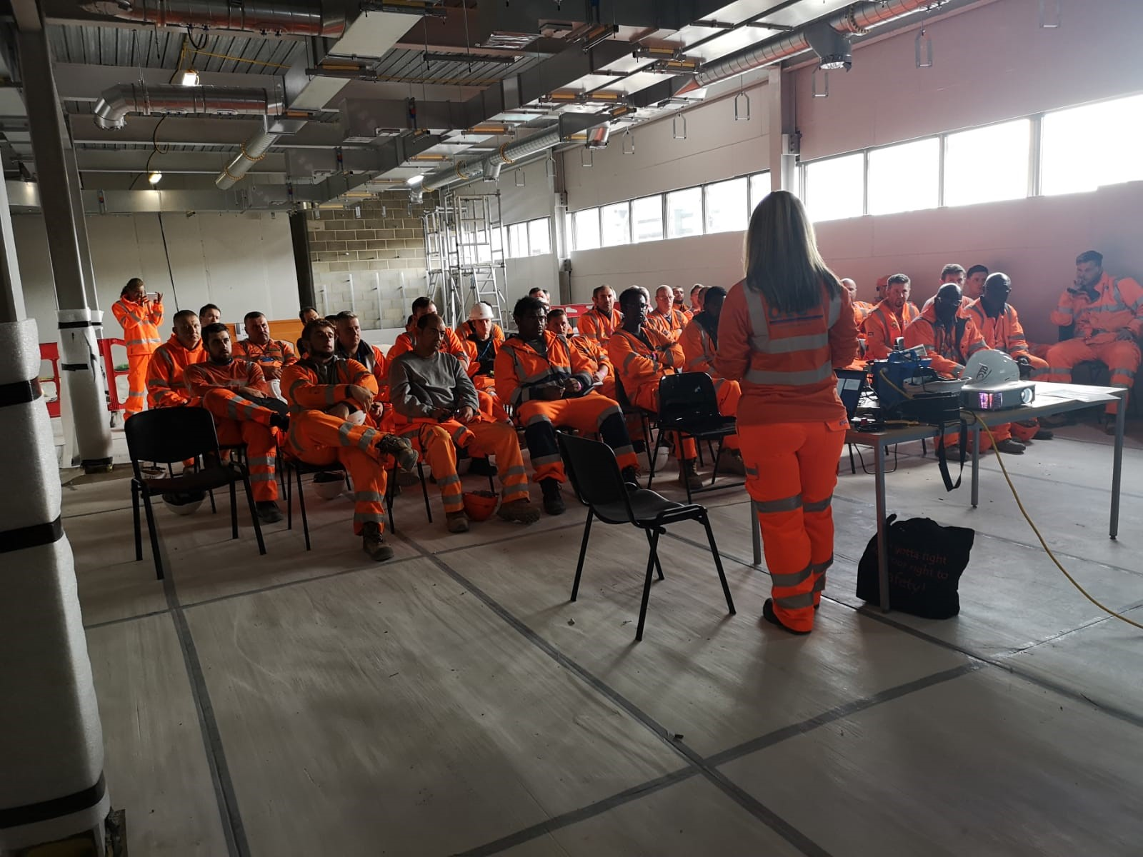 Louise presenting Michael's Story at Crossrail's latest Stepping Up Week safety standdown.