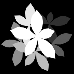 Each section of plant has a special grayscale value so they can be faded in one at a time as the plant grows