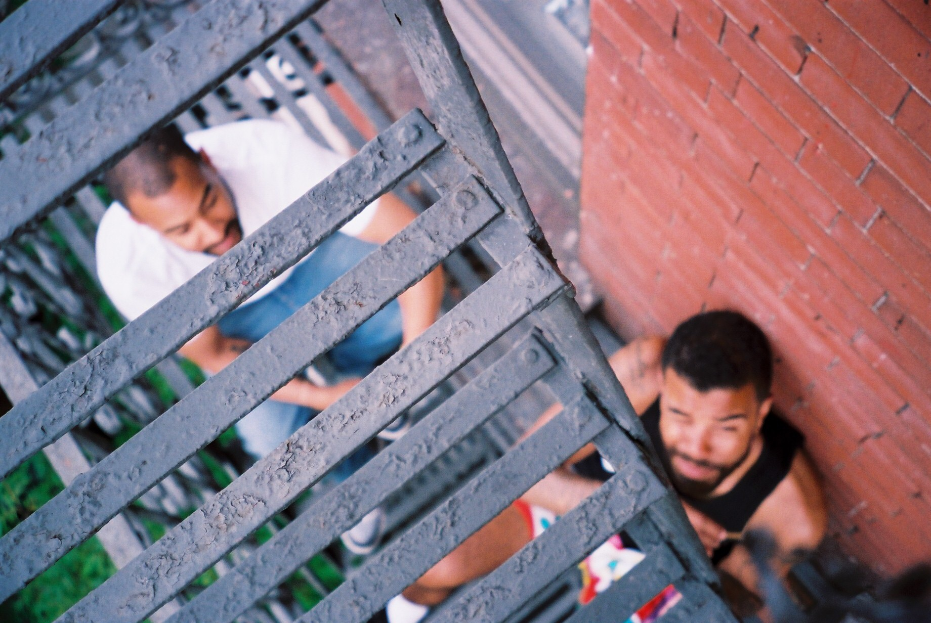 Fire escape chillin with my brothers. Tre and Chris.