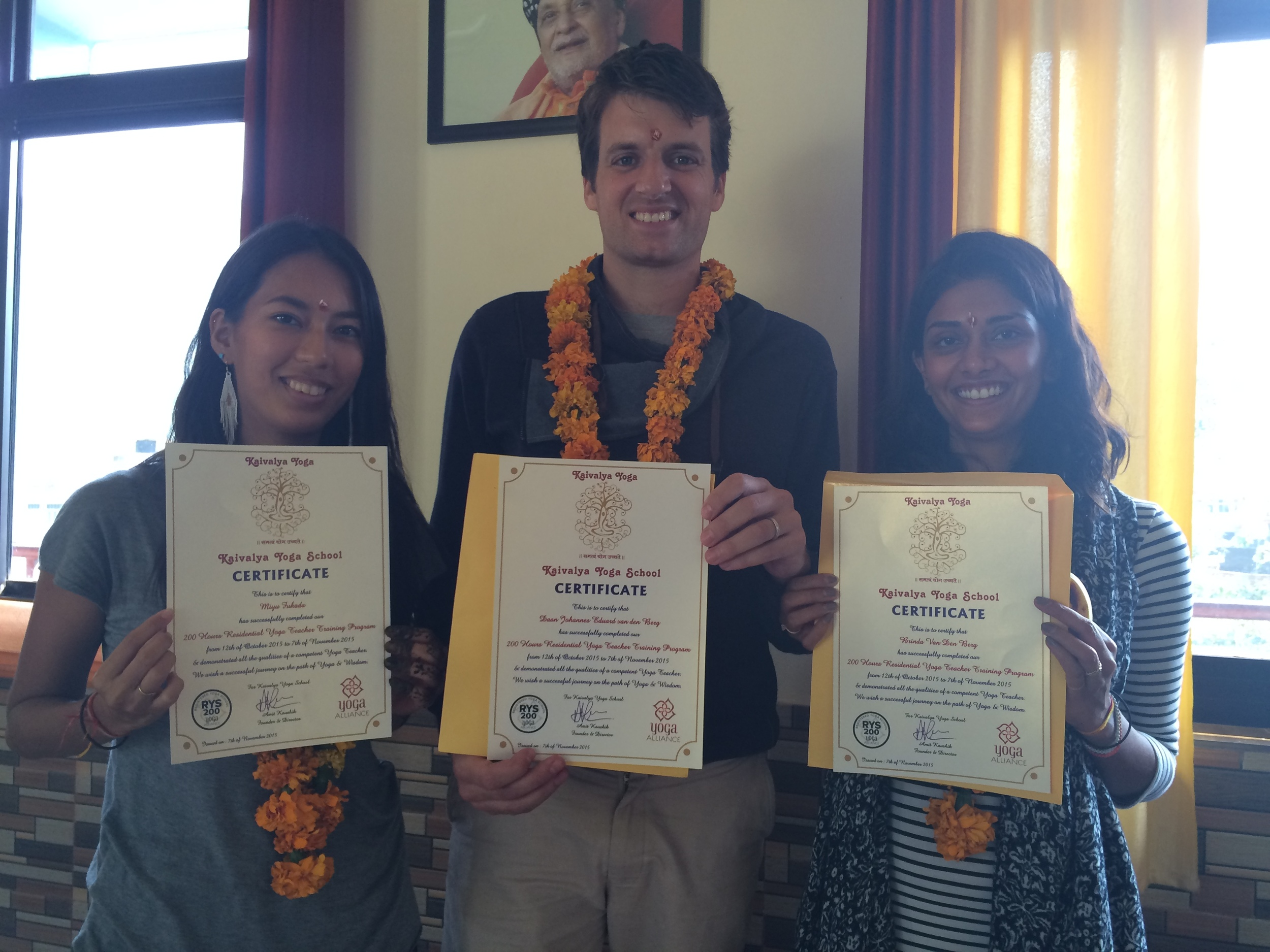 after completing the yoga training in India