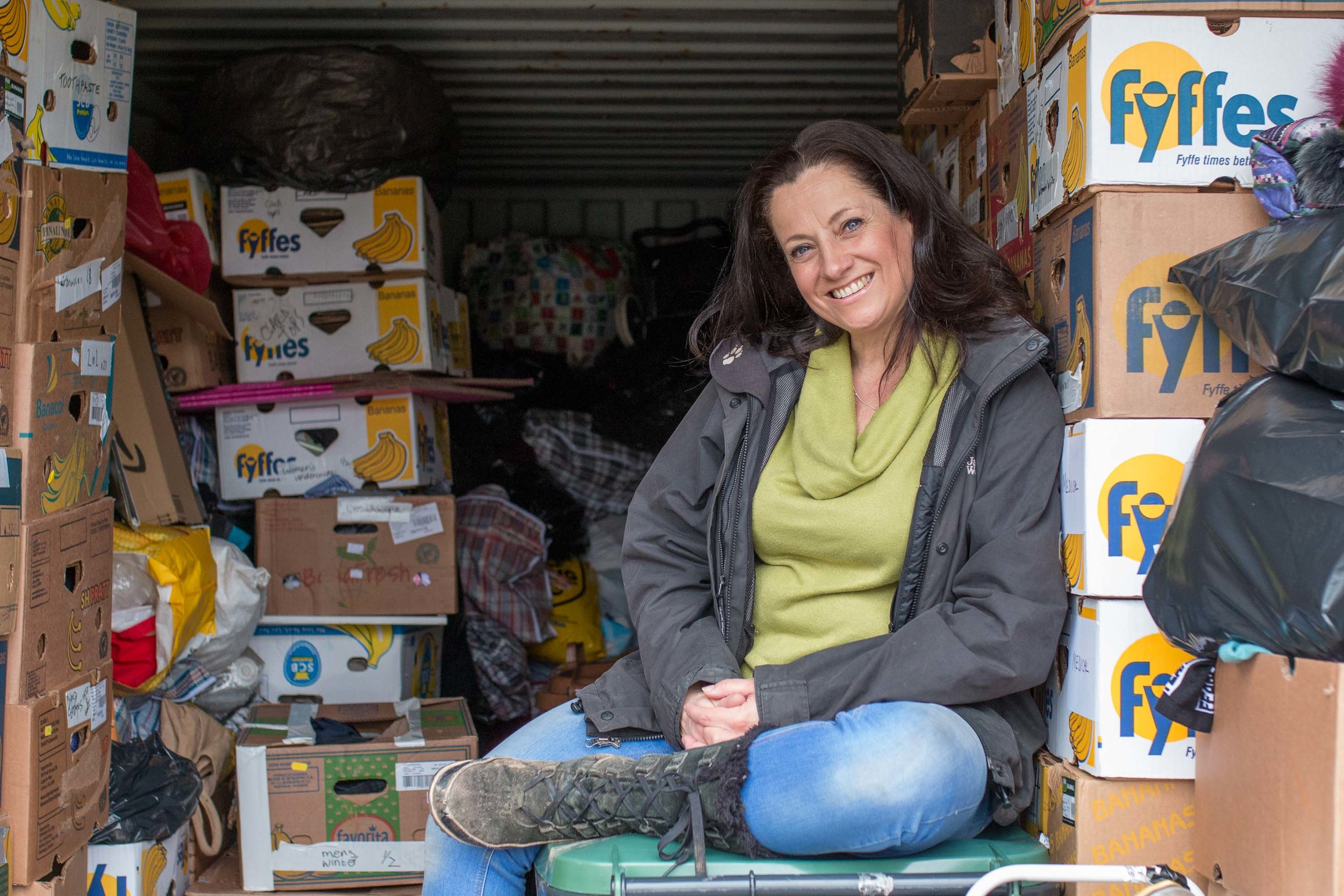 Sue has such a warm smile which reflects her kind soul. Her energy is endless as she runs Together 100 from this container unit known as the donation station. Every donation is sorted by Sue and her Duke of Edinburgh volunteers every week and is destined for refugees in Europe. Sue is also a wonderful photographer, works at the very inspiring Electric Umbrella charity and is mother to her two girls.  www.facebook.com/togetherrefugee/