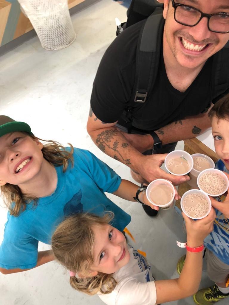 Enjoying chocolate milk at the Great New York State Fair!