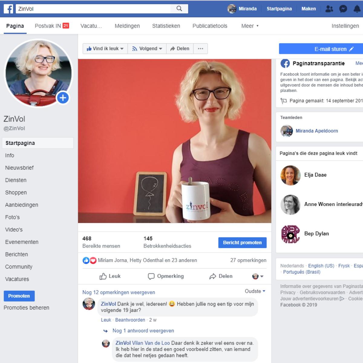 """Foto bij het blog """"Hartmassage voor je zieltogende Facebook-pagina"""" - ZinVol (Nuchtere ondernemerscoaching)."""