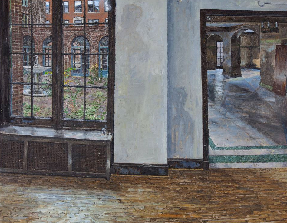 COURTYARD / DINING HALL, THREE ARTS CLUB, OIL ON LINEN, 32X47'', 2012