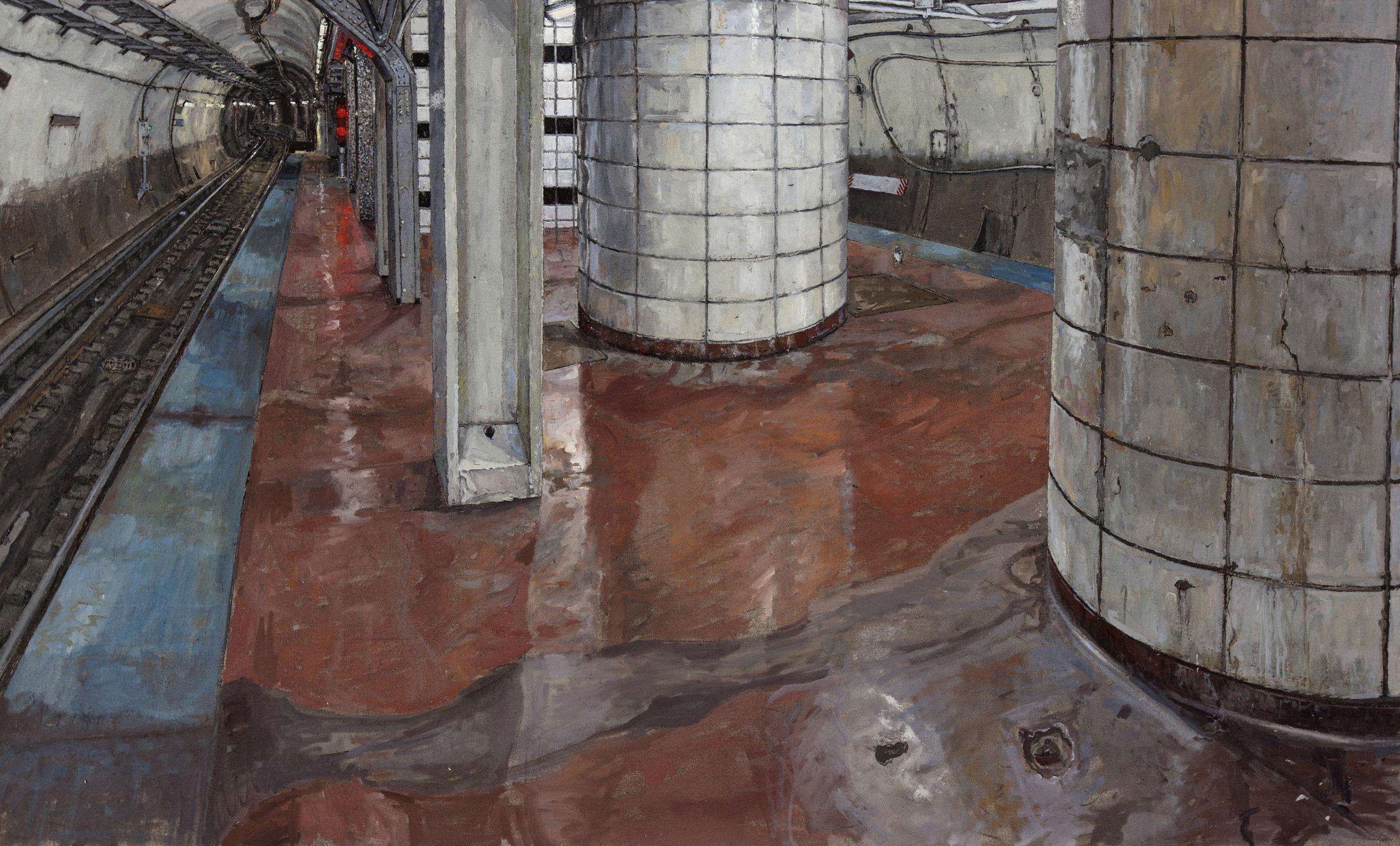 CTA, WASHINGTON ST. STOP. OIL ON LINEN, 30X48'', 2012