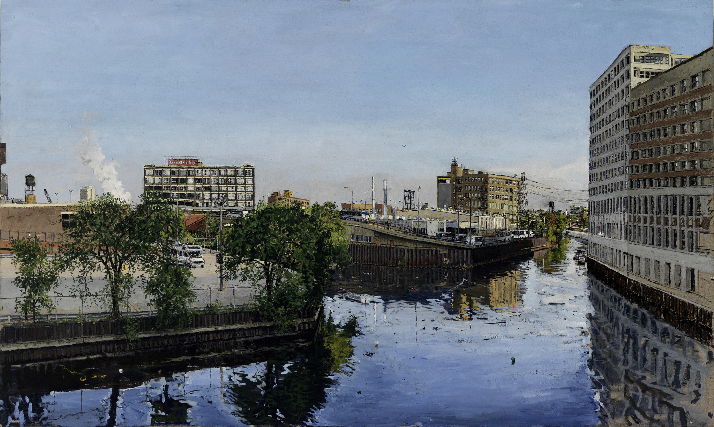 FROM CHICAGO AVE BRIDGE, OIL ON LINEN, 28X40'', 2011