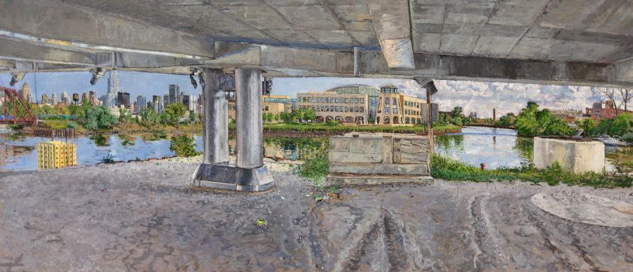 TURNING BASIN, CHICAGO RIVER, OIL ON LINEN, 24X48'', 2010