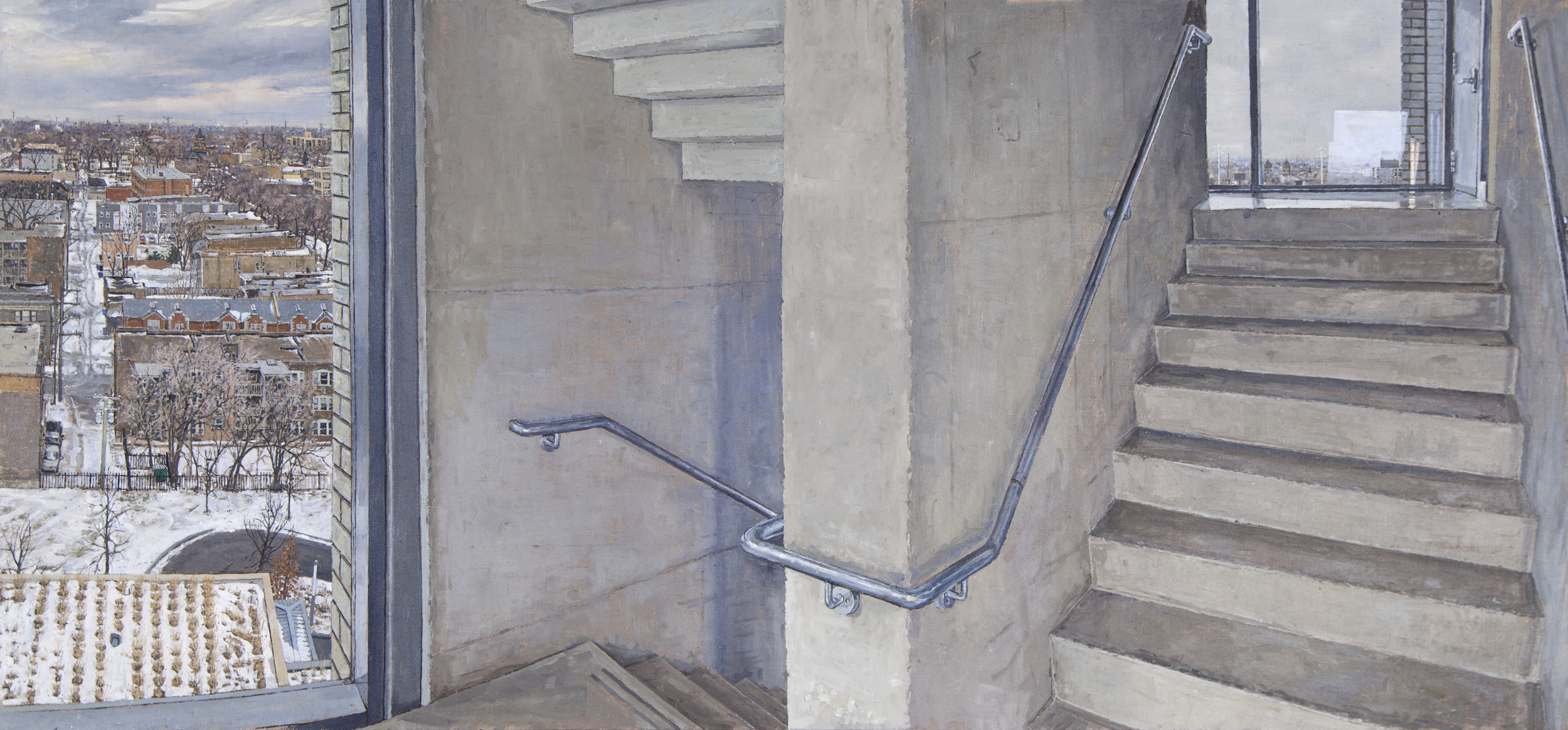 LOGAN CENTER FOR THE ARTS, 10TH FLOOR STAIRWELL, OIL ON LINEN, 24X48'', 2015