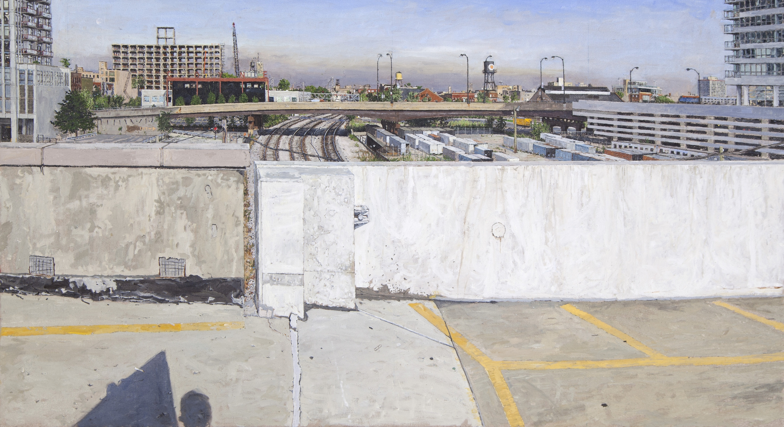 ELEVATED PARKING LOT, LOOKING WEST WITH RENOVATION OF GOOGLE HEADQUARTERS, OIL ON LINEN, 28X49'', 2013