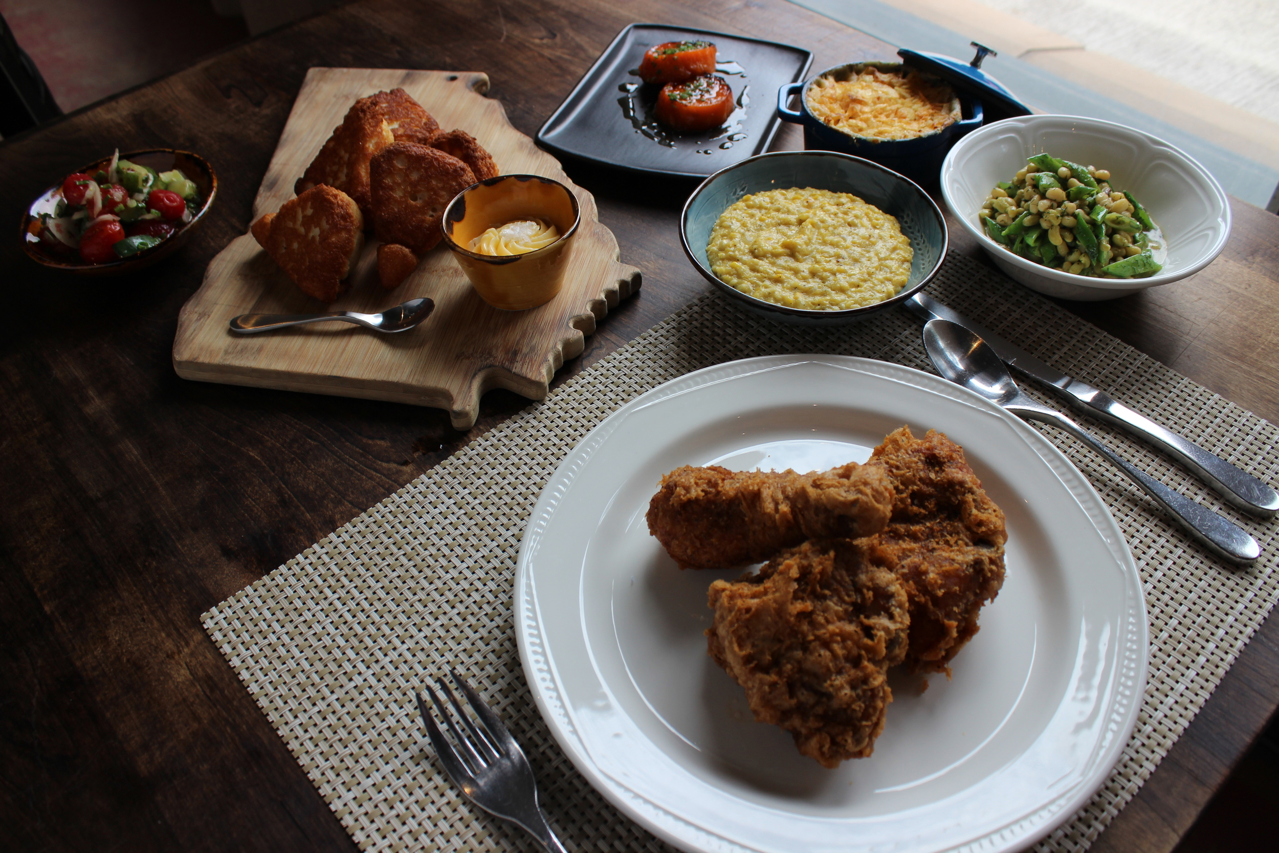 Revival Fried Chicken, Lemon Glazed Sweet Potatoes, Cucumber Chow Chow, Local Lady Peas and Snap Peas in Lemon Dill Butter, Fatback Fried Corn, Mid-Century Mac & Gillespie Family Iron Skillet Cornbread.JPG
