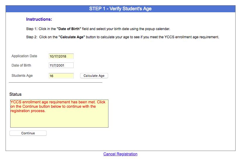 Online Enrollment Screenshot Step 1