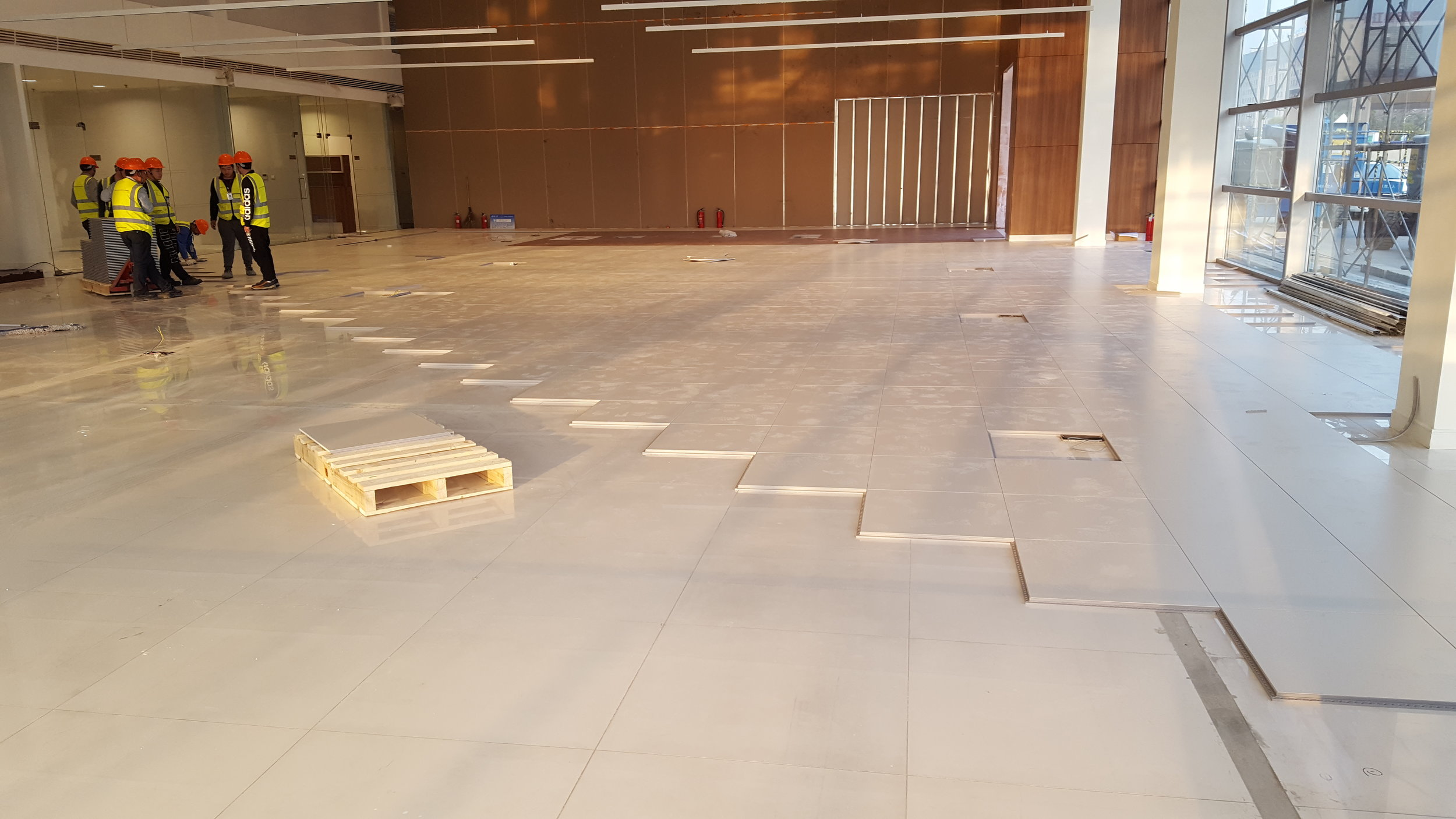 Installation day 1: Versaflex® installed on top of the existing tiled substrate