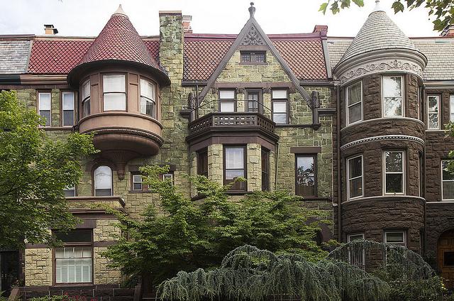 Homes along Q Street, NW, in Dupont Circle. Via Flickr.