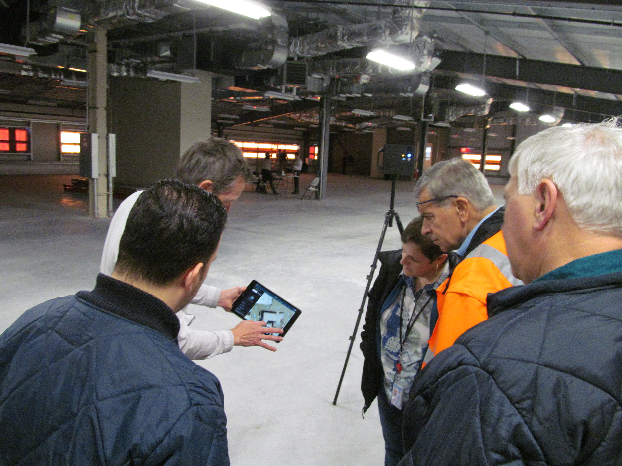 Demonstrating the Matterport reality capture software and hardware. These tools are used to quickly survey the site by creating a point cloud and a 3D internet-based model.