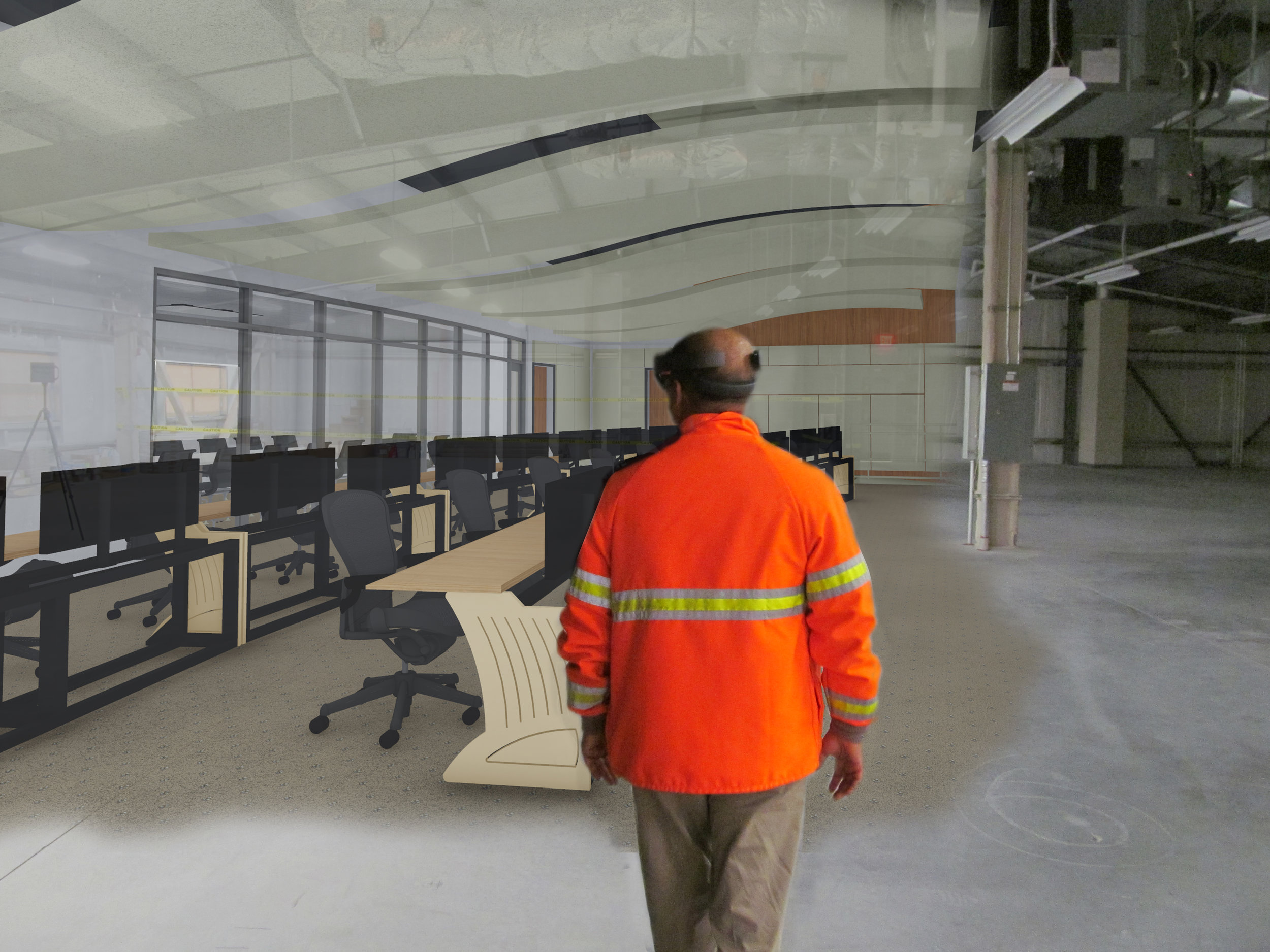 A conceptual montage to illustrate the hologram of a new MTA B&T interior architecture as seen through the HoloLens.