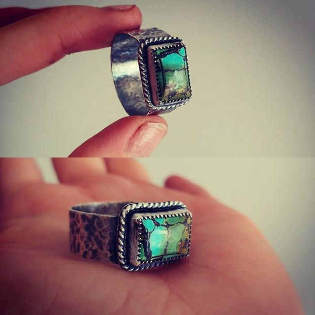 Made this custom for a big fingered man haha. Need a size 14 or 15? Not a problem! #custom #mensring #mensturquoisering