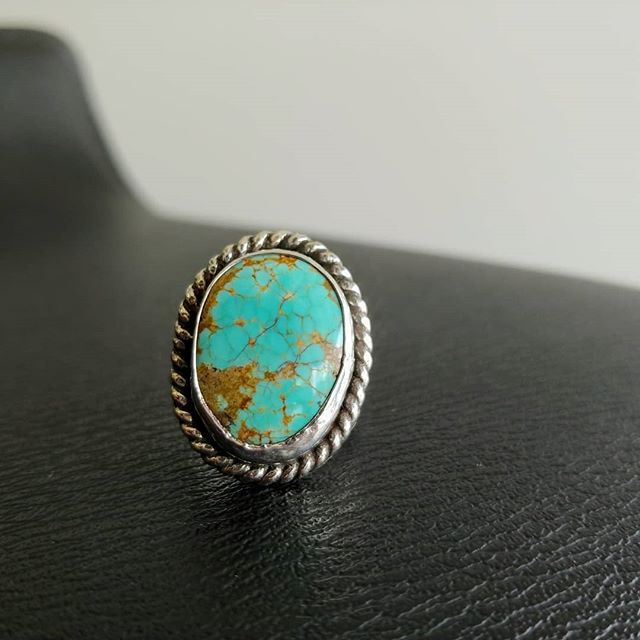 For sale! Number 8 turquoise ring. It's a size 8.75. All Sterling silver with heavy gauge rope wire border. Split shank design,  a very comfortable, classic style to wear every day. $85. Comment SOLD to purchase. This is a handmade product made with natural materials. #handmadejewelry #turquoise #number8turquoise #sterlingsilver #statementring