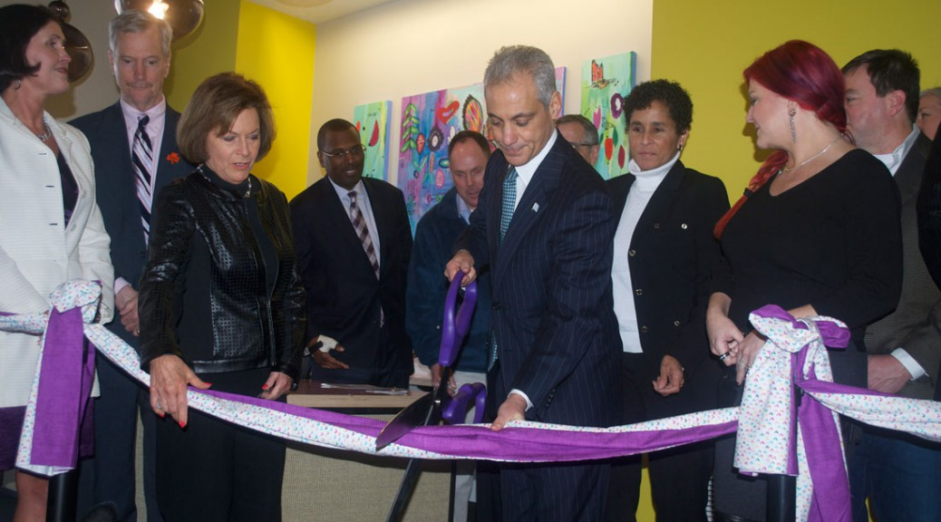"""Ribbon Cutting for Wings Metro, Chicago's first Domestic Violence shelter in a decade featuring """"Bloom Revival"""", (pictured in background) A 48x60' acrylic on canvas triptych commissioned and painted by VersAnnette."""