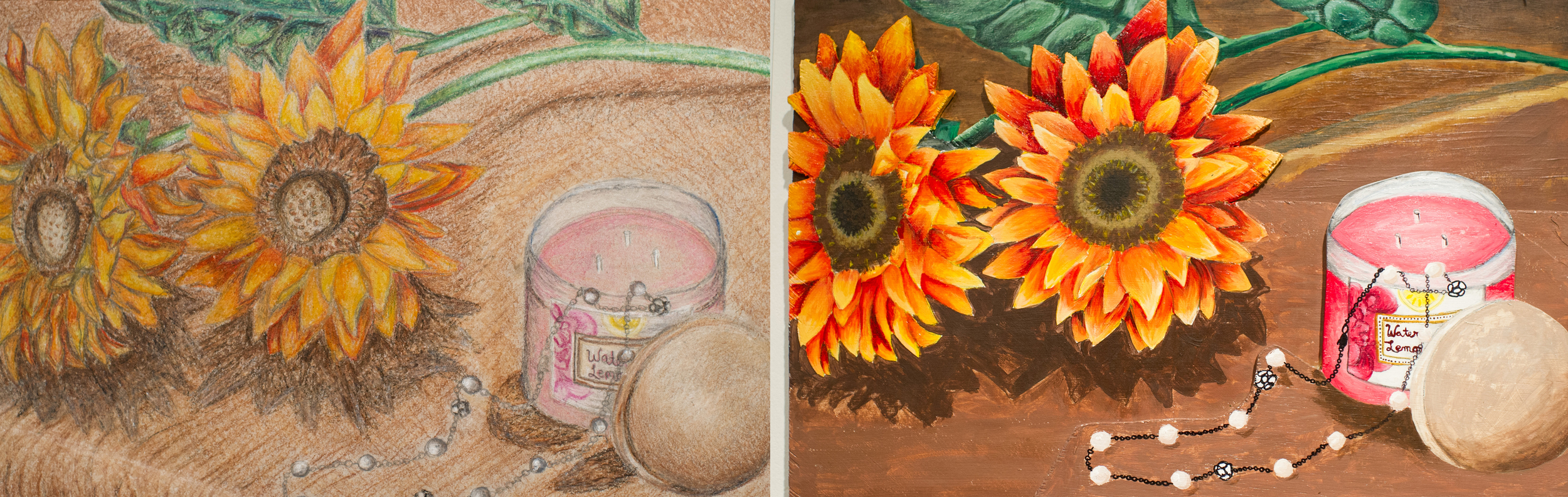Emily Yellina rendered the same still life twice at IUS with Dean Mistler— once with colored pencils and once with acrylic paint on layered 3D board.