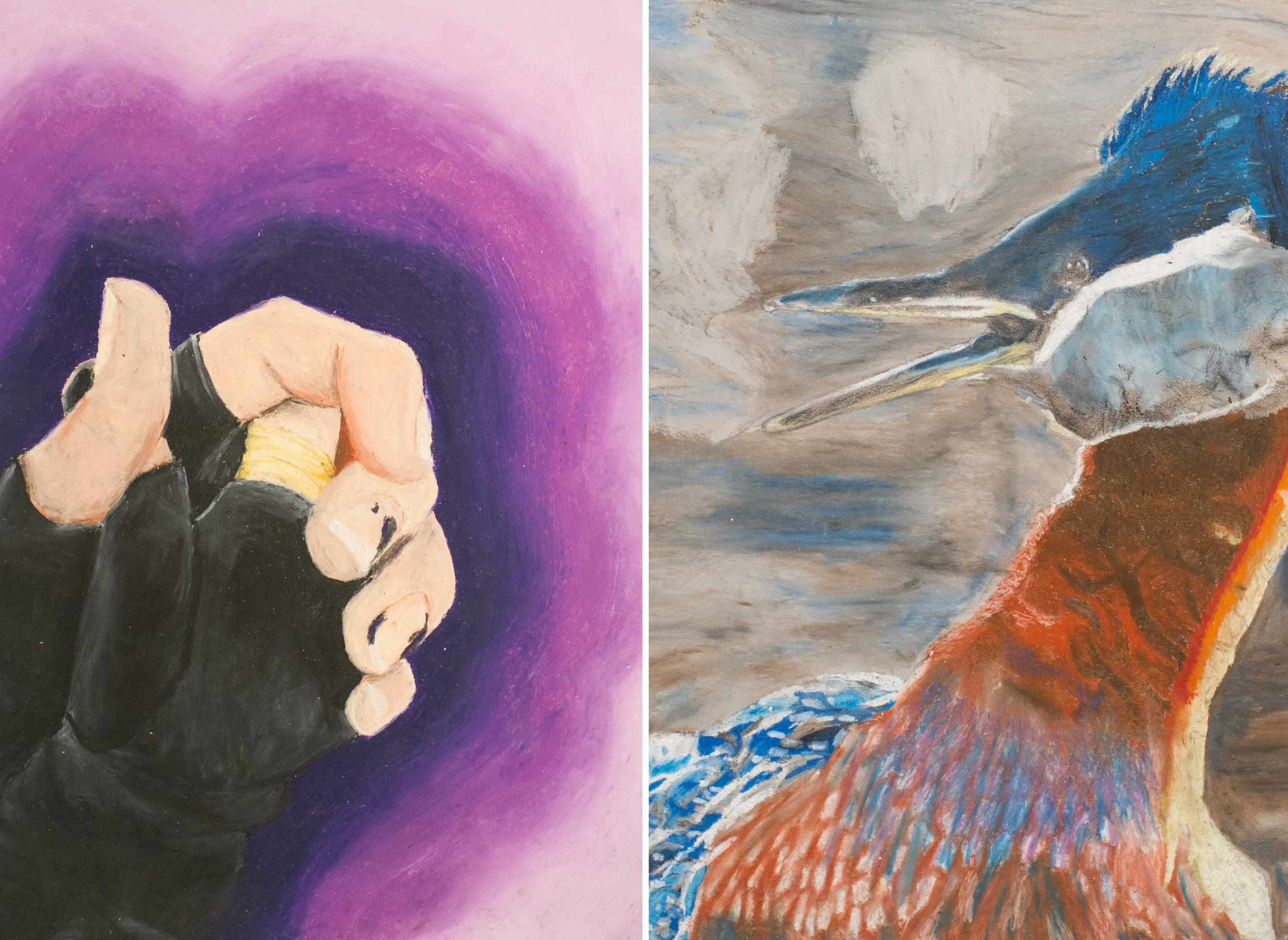 Hannh Hemming (left) and Anna Oakley (right) created these works with Wilma Bethel.