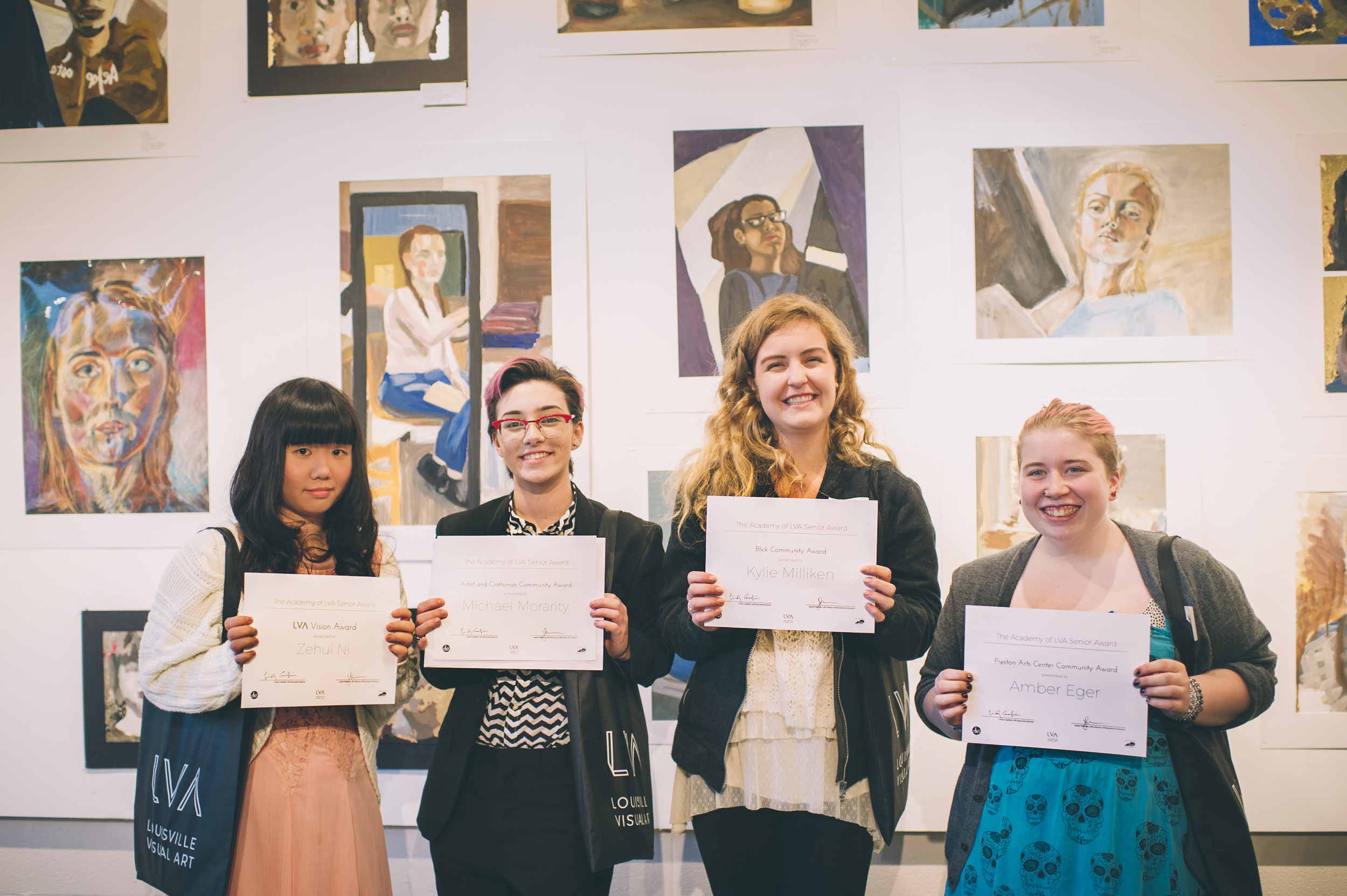 Congratulations to Zehui Ni for receiving the LVA Vision Award, Michael Morarity for receiving the Artist and Craftsman Community Award, Kylie Milliken for receiving the Blick Community Award, and Amber Eger for receiving the Preston Arts Center Community Award! These seniors have shown active and passionate involvement in CFAC and The Academy, exhibit great determination and drive, and their creative ability is continually improving. We are so proud of each of you!