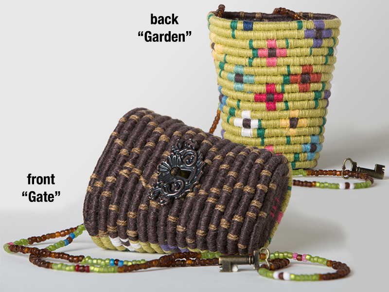 """Secret Garden Wearable Basket Necklace"" by Maria Tinnell, 4x3.5x2.25in, coiled linen basket (2015), $84   