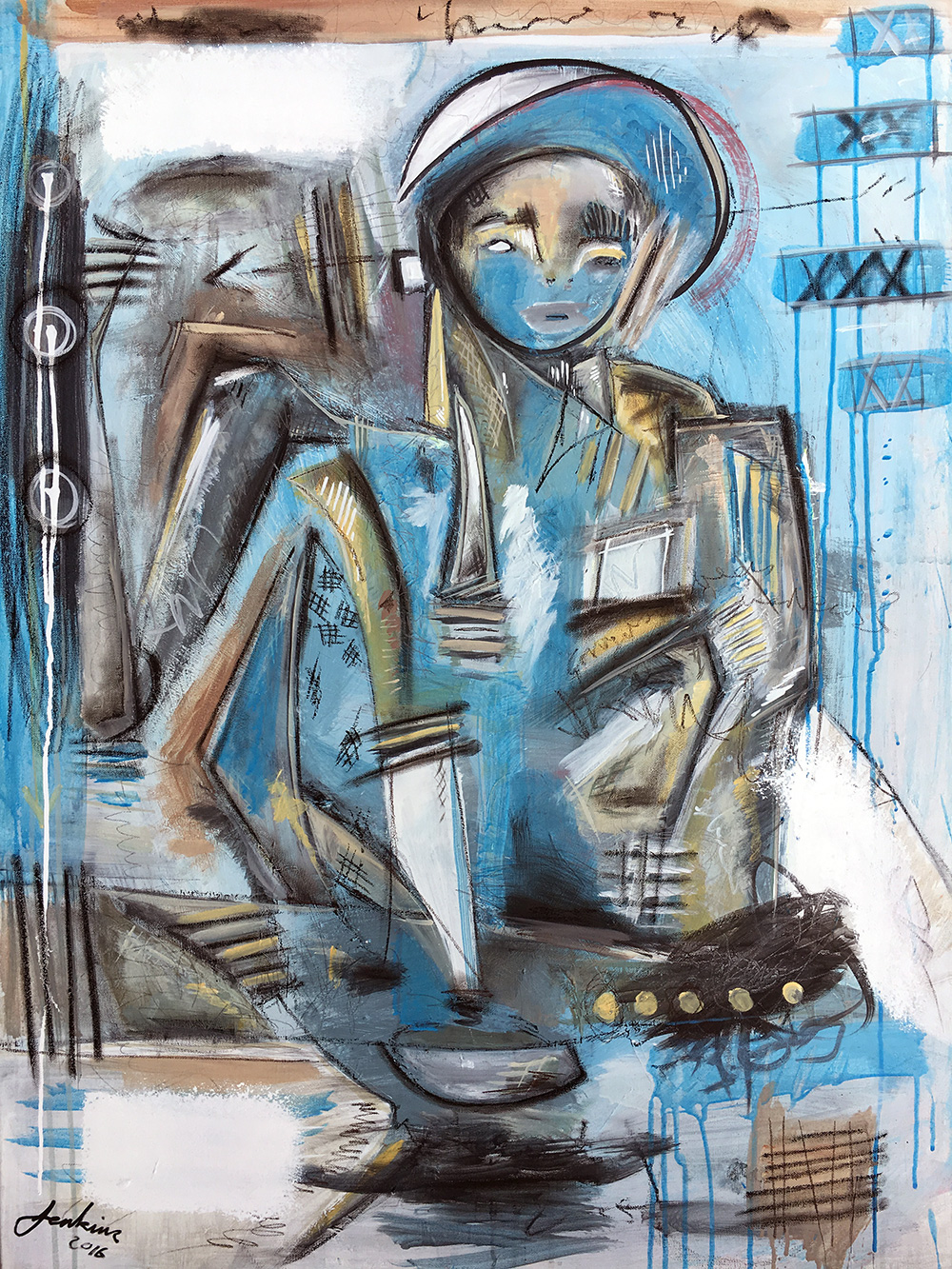 """Boy Blue"" by Joshua Jenkins, 40x30x1in, acrylic and mixed media on canvas (2016)"