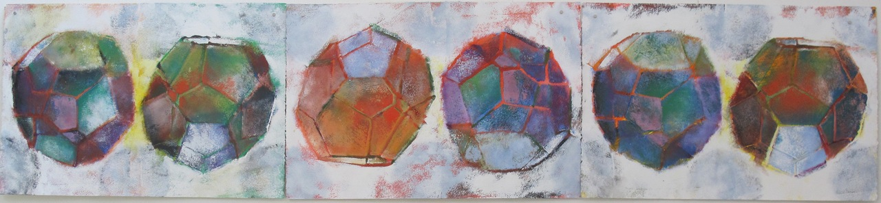 """Liquid Structures Suite"" by Peter Bodnar, 15x67in, acrylic on paper (2013), $950 