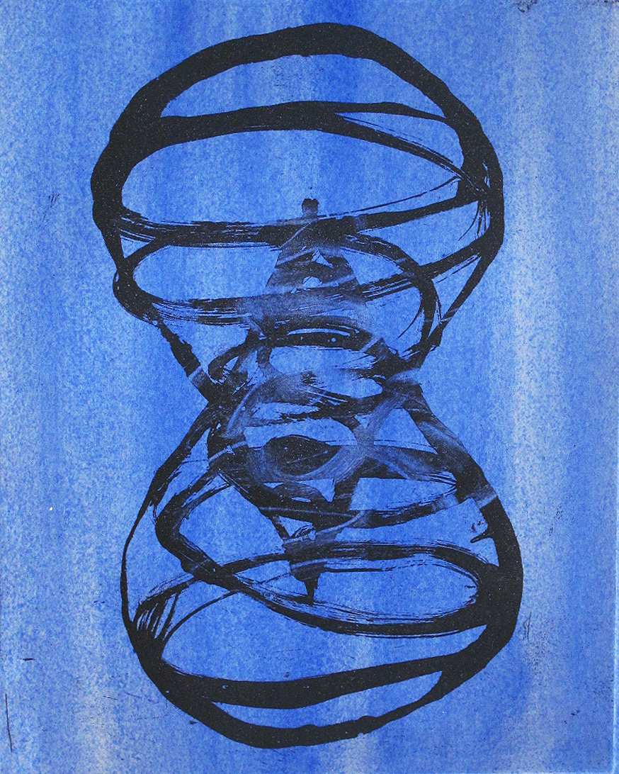 """Above / Below (in blue)"" by Peter Bodnar, intaglio w/ pigment (2016), $300 