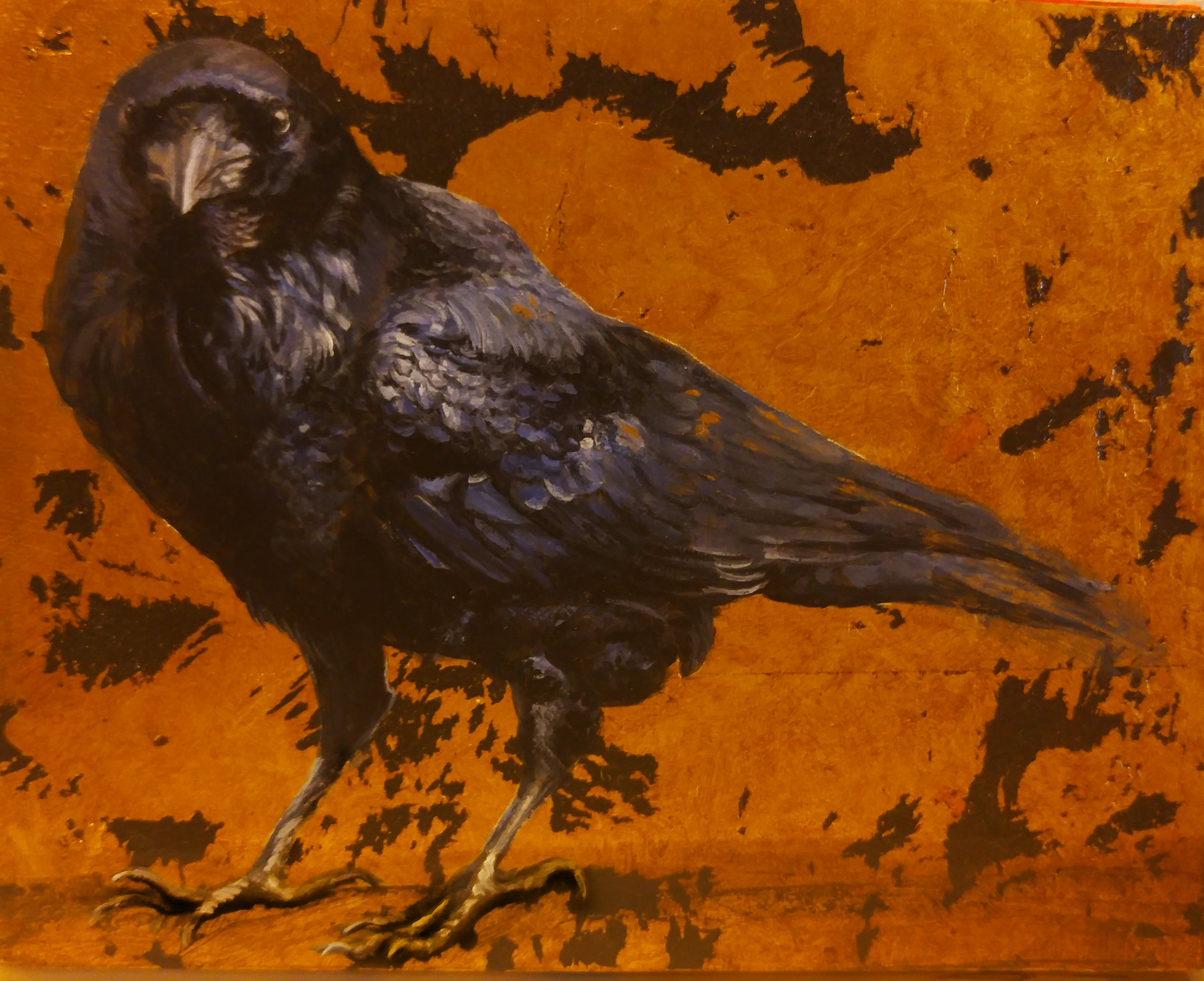 """Raven on Gold"" by Sabra Crockett, 8x10in, acrylic and gold leaf on canvas, $460 