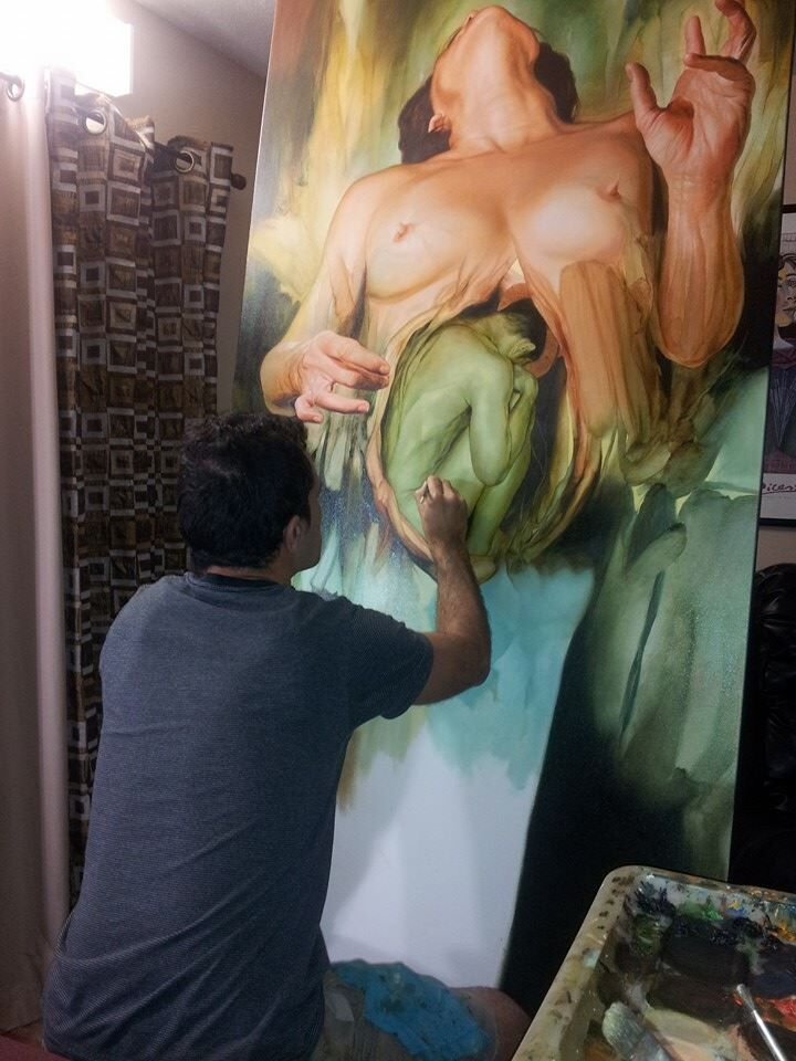 Rodríguez at work in his studio.
