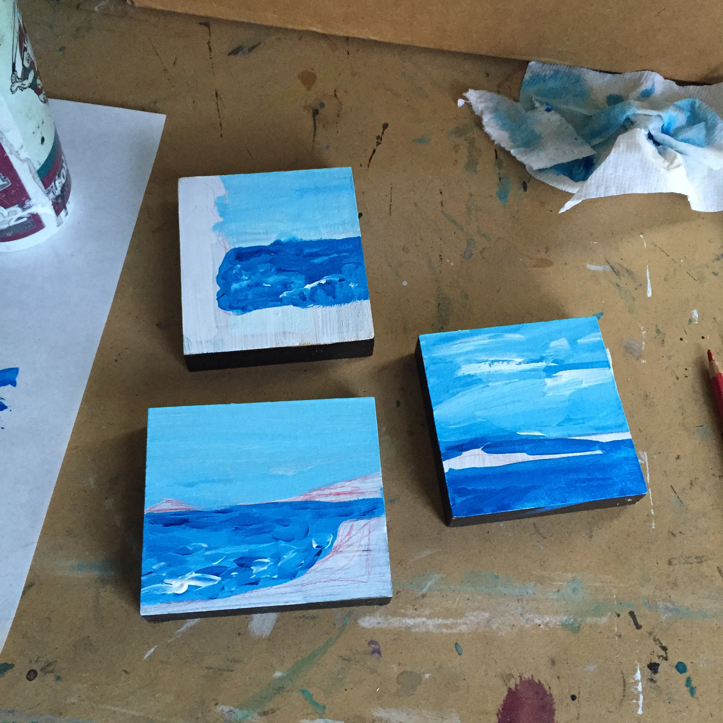 """Paintings of Maine (    In Progress)"" by Jennifer Palmer, mixed media on poplar (2016)"