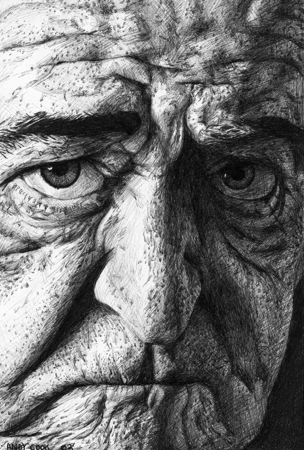 """Old Man"" by Andy Cook, 8x10in, ball point pen (2016)"
