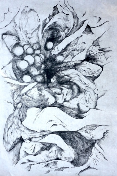 """Seed Pods"" by Rachel Singel, 18x20in, intaglio on mulberry paper (2015)"