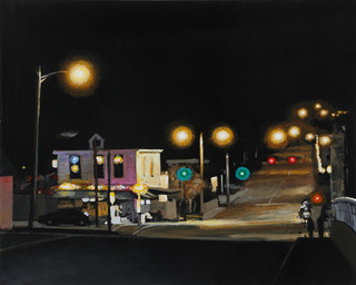 """Spring Street Tavern"" by Tom Pfannerstill, 19.25x24in, acrylic on canvas (2016)"