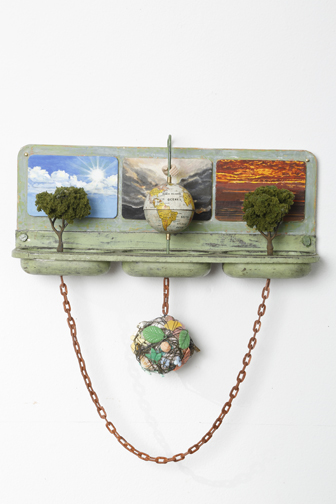 """One Small Planet"" by Caroline Waite, 10x11x2.5in, tin, paper mache, gouache paintings, model trees, globe, chain. $950 