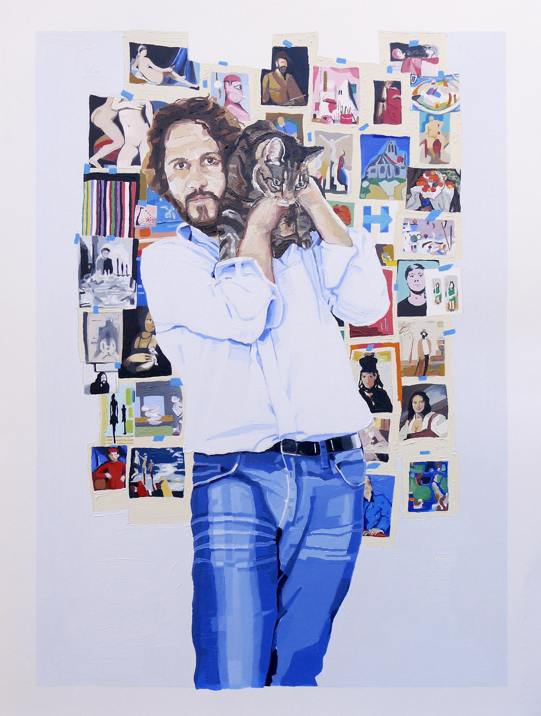 """Self Portrait with Maya (in the studio)"" by David Iacovazzi-Pau, 30x24in, oil on paper (2016)"