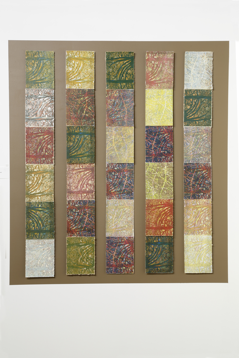 """Seasonal Rhythms"" by Susan Moffett, 42x54in, relief Monoprint Installation, $2,250 
